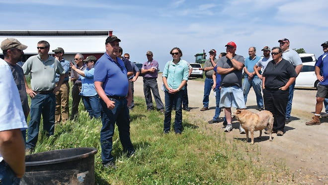 Tom Knapf, NRCS ASTC-Programs, discusses the benefits of managed grazing with participants at the Lower Fox Demonstration Farm Field Day on June 14.