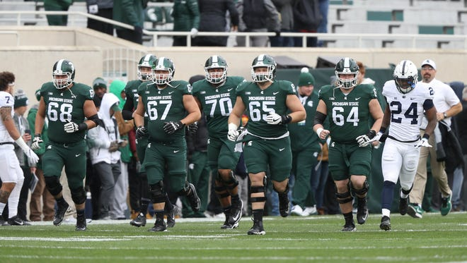 Michigan State takes the field for their game against Penn State Saturday, November 4, 2017 at Spartan Stadium in East Lansing.