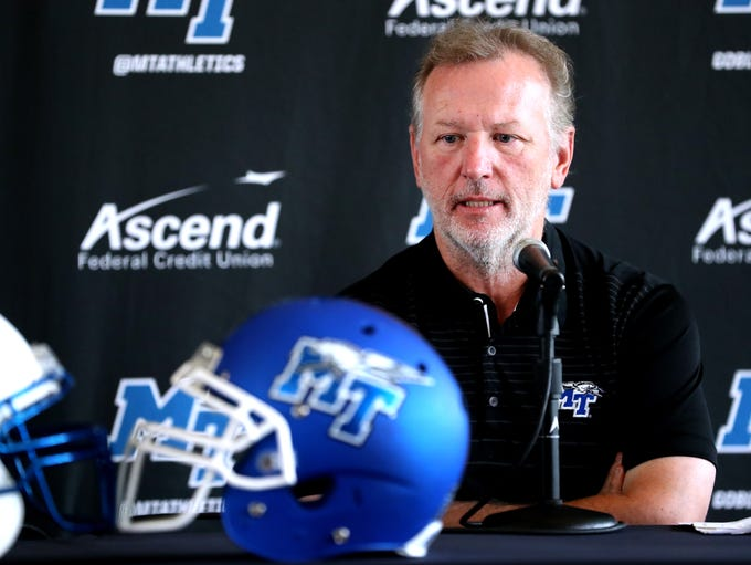 MTSU's Offensive Coordinator Tony Franklin speaks and