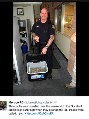 The Monroe Police Department, with the help of a local Goodwill, uncovered 3.75 pounds of weed in a donated cooler.