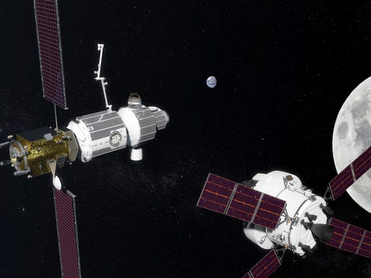 Artist's concept of NASA's proposed Deep Space Gateway in lunar orbit.