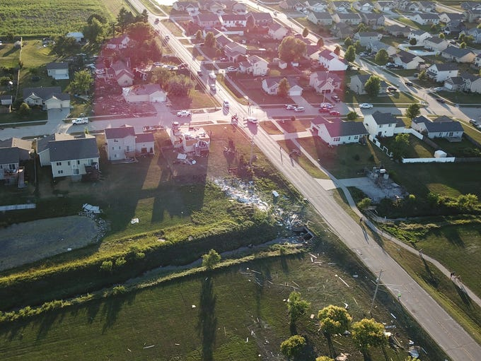 This drone photo by Brett Hoben shows damage left by