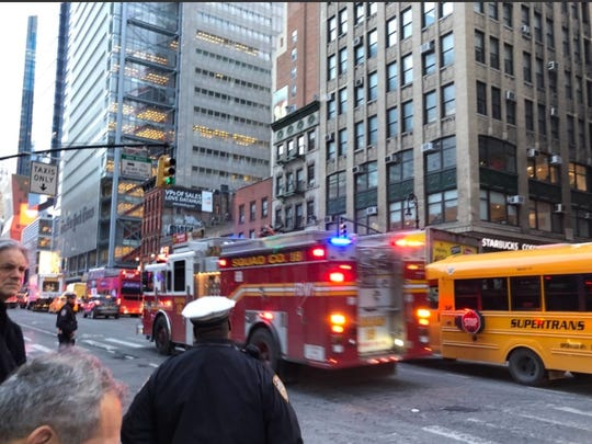 Fire trucks race towards the New York Port Authority after a reported explosion on Dec. 11, 2017 in New York.