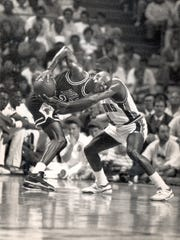 Michael Jordan averaged 8.0 assists and 8.0 rebounds a game in 1988-89, but shot just 27.6 percent from 3-point range.