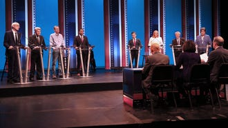 Democratic candidates for governor (fom left) Tony Evers, Matt Flynn, Mike McCabe, Mahlon Mitchell, Josh Pade, Kelda Helen Roys, Paul R. Soglin and Kathleen Vinehout prepare to debate Thursday, July 12, 2018, at the UW-Milwaukee  MainStage Theatre..