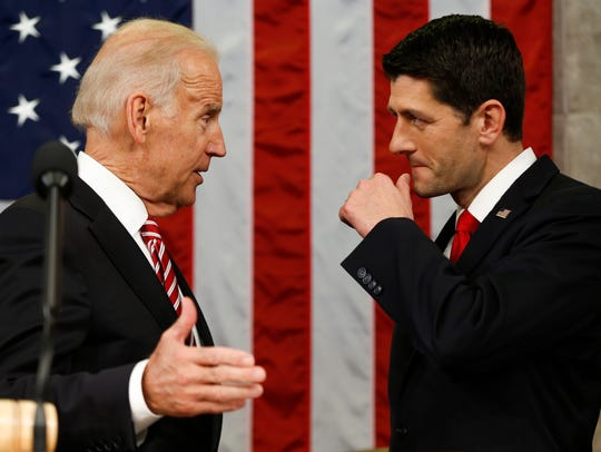 Vice President Biden talks with House Speaker Paul