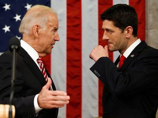 Vice President Biden talks with House Speaker Paul