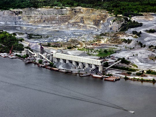 This 2009 aerial photograph looking east over the Hudson River shows Tilcon New York, which operates the Clinton Point Quarry in the Town of Poughkeepsie.