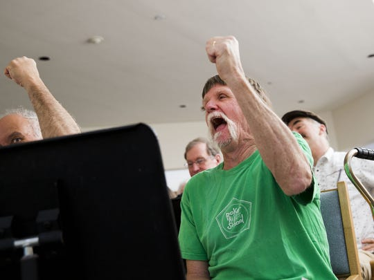 Bob Smith sings during a rehearsal of the Aphasia Choir, made up of stroke survivors and others who have a communication disability.  The program is based at the Fanny Allen campus of the UVM Medical Center in Colchester.