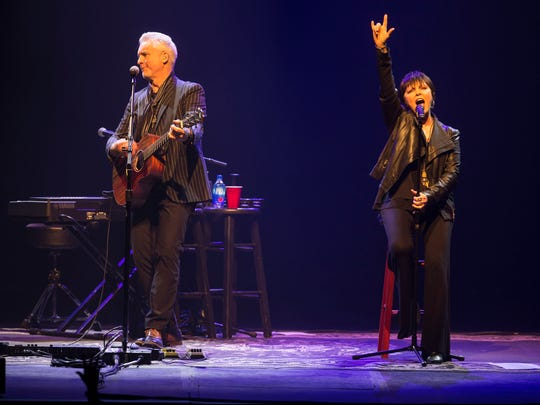 Neil Giraldo and Pat Benatar take the stage. The Asbury Park Press Stage at the Count Basie Theatre is unveiled prior to a very intimate evening with Pat Benatar & Neil Giraldo. 