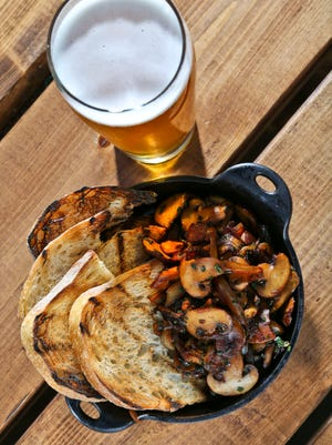 The BBQ Crimini mushrooms from Against The Grain. $9 with toasted bread.