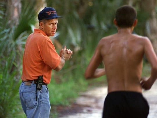 Estero High School track coach Jeff Sommer in 1999,