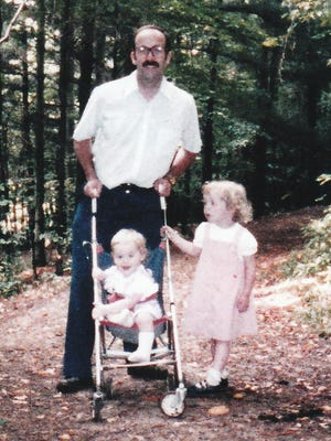 Running on trails reminds me of the childhood joy of family hikes. I am pictured with my dad and younger sister Mary.