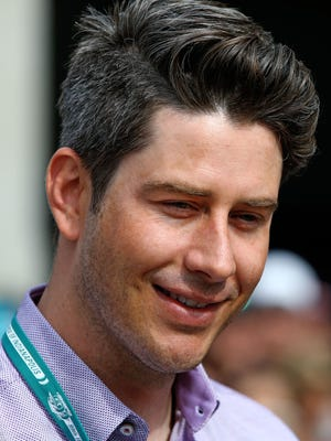 May 24, 2015; Indianapolis, IN, USA; Television personality and former racer Arie Luyendyk Jr. on the IndyCar Series red carpet prior to the 2015 Indianapolis 500 at Indianapolis Motor Speedway.