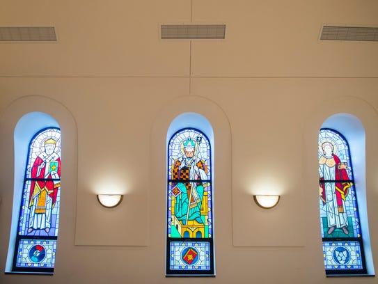 A stained-glass window inside St. George Greek Orthodox