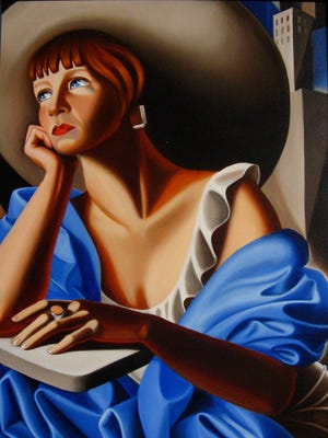 """""""Self in Blue,"""" """"a painting portrait by fiber artist Kathleen Loomis, is part of PYRO Gallery's exhibit """"New Year, New Pyro Artists."""""""