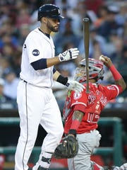 Tigers' J.D. Martinez strikes out against the Angels