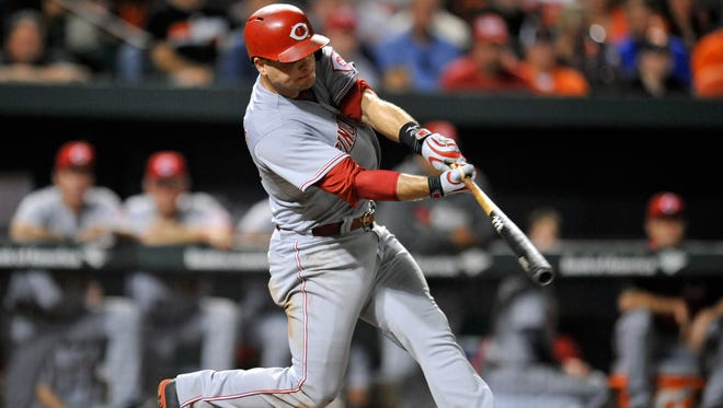 Cincinnati Reds catcher Devin Mesoraco (39) has had his best year at the plate.