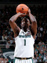 Michigan State's Joshua Langford shoots a free throw
