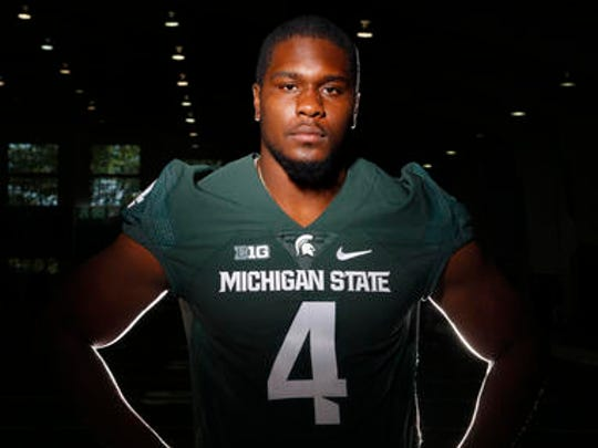 Michigan State defensive lineman Malik McDowell poses for a photo during the team's NCAA college football media day, in East Lansing, Mich. He could be an option for the Giants on Day 2 as the team looks to fill the void of Johnathan Hankins, who departed in free agency.