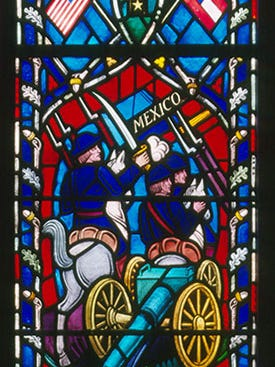 "Detail from the Washington National Cathedral stained glass window honoring Confederate Gen. Thomas ""Stonewall"" Jackson."