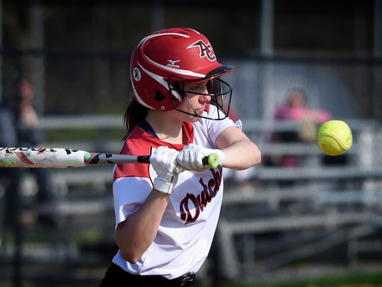 Annville-Cleona's Morgan Zimmerman eyes up a pitch