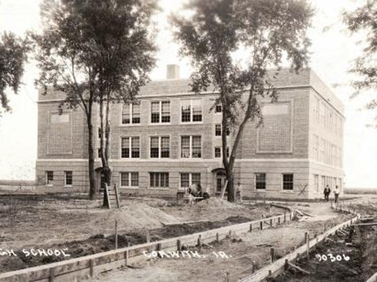 The Corwith High School just before construction was complete in 1918.