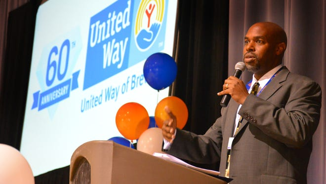 United Way's 2017 fundraising drive officially kicked off Wednesday with a lunch pep rally at the Melbourne Auditorium. Dr. Blackburn, Superintendent, Brevard Public Schools is chairing this year's campaign, taking the reins from Brevard County Sheriff Wayne Ivey.  Dr. Blackburn addresses the audience.