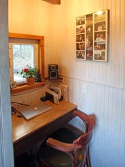 A view of the desk in the Tiny Home Malcolm Smith built