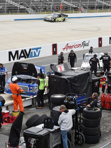 Nascar racing continues at Dover International Speedway with practice in the Camping World Truck Series, Nationwide Series and Sprint Cup as teams prepare for upcoming this weekend race's.