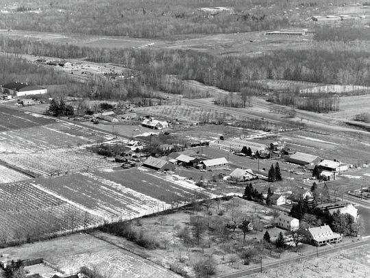 Aerial of Tice's Farm and Van Riper's farm,  Woodcliff