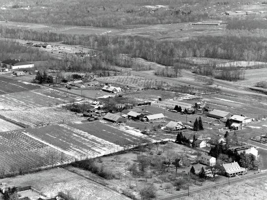 Aerial of Tice's Farm and Van Riper's farm,  Woodcliff