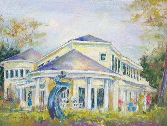 A painting of the Holmes/Rocha Home, which is on the