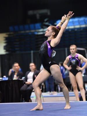 Prattville YMCA gymnast Sydney Bassett competes in floor exercise at Junior Olympic Level 9 Eastern Championships in Bradenton, Fla.