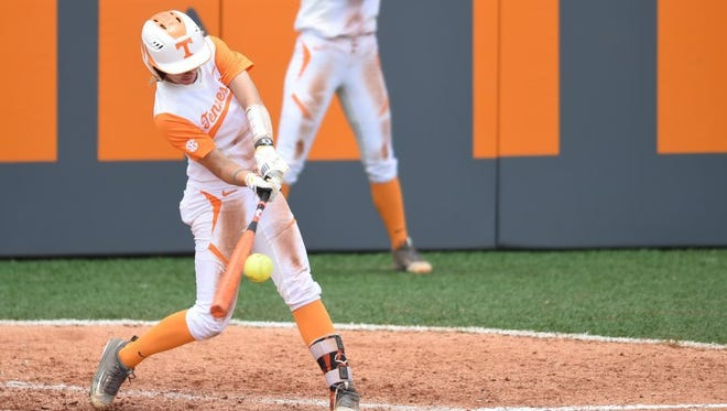Tennessee's Megan Geer (14) connects for a homerun to give Tennessee a 3-2 lead over Marist during an NCAA softball tournament Knoxville Regional game at Sherri Parker Lee Stadium on May 21, 2016. Tennessee won 10-2.