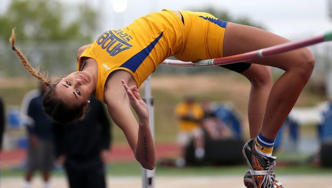 Angelo State University senior Kaitliin Lumpkins, shown this file action shot, broke the school record with a jump of 5-10 3/4 at the Red Raider Invitational Indoor Meet in Lubbock Jan. 26, 2018.