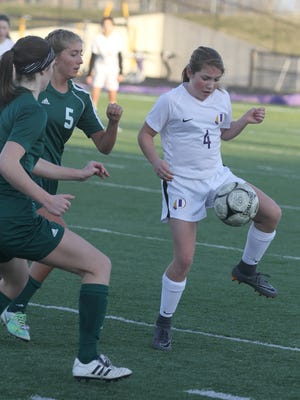 Indianola's Megan Howard, showing during a 2018 match, scored three times and assisted on another as the Indianola girls soccer team beat Hoover 9-0 on April 9.