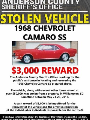 Anderson County Sheriff's Office investigators are looking for the classic Camaro pictured in this poster.