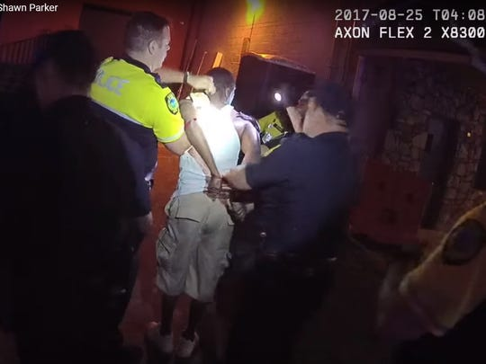 Body-worn camera footage by Senior Police Officer Shawn Parker shows Asheville resident Johnnie Rush being arrested by officers on Aug. 25, 2017.