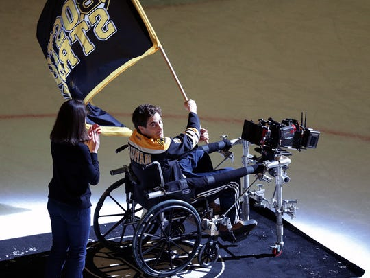 Jake Gyllenhaal, portraying Jeff Bauman, films a scene for 'Stronger' after the game between the Boston Bruins and the Carolina Hurricanes on April 5, 2016.