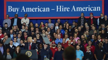 President Donald Trump speaks to auto workers at the American Center for Mobility in Ypsilanti on March 15.