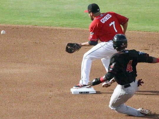 Chihuahuas second baseman Diego Goris, 7, keeps his