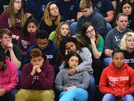 York County School of Technology students listen to classmate Gage Denny talk about his suicide attempt during an assembly celebrating Diversity Week, Thursday, May 4, 2017. The assembly included testimonials from students about their experiences as immigrants, attempting suicide, and race issues.  John A. Pavoncello photo