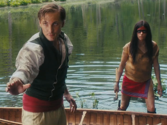"From left, Joshua Pinsmail (Eamon Farren) and Oak (Kaniehtiio Horn) attempt to escape in Ted Geoghegan's ""Mohawk."""