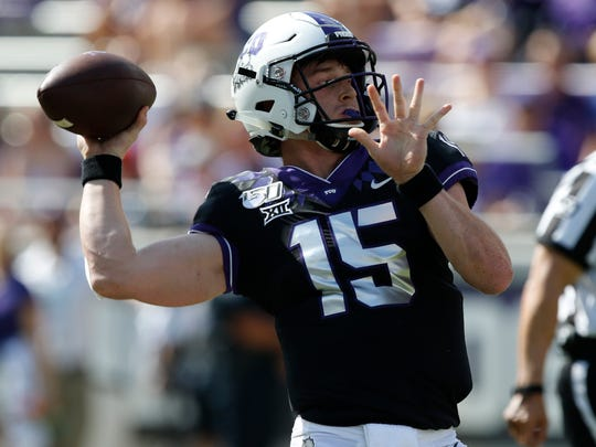 TCU Horned Frogs quarterback Max Duggan (15) throws in the first half. The Kansas Jayhawks played the TCU Horned Frogs at Amon Carter Stadium in Fort Worth, Texas Saturday, Sept. 28, 2019./Star-Telegram via AP)