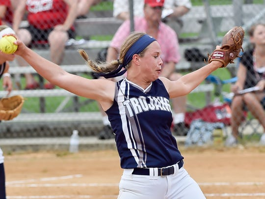 Sammie Bender pitches for Chambersburg during a District 3 Class AAAA quarterfinal softball game against Cumberland Valley on Thursday, May 26, 2016. Chambersburg defeated Cumberland Valley 5-4.