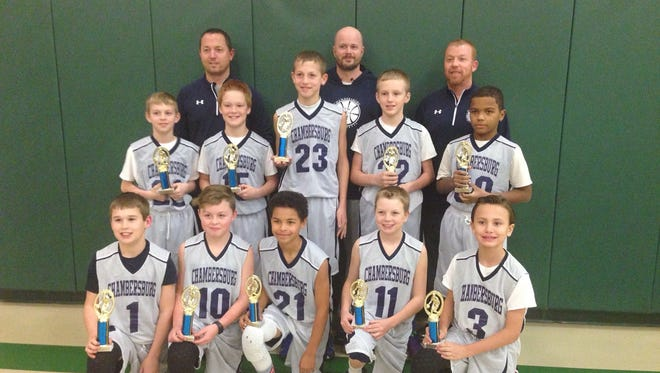Chambersburg's 5th grade boys travel basketball team won its age group at the Red Lion Invitational Christmas Tournament. Team members included, front row, from left, Owen Shearer, Carter Fogal, Chopper Flenory, Jacob Bassham, Goetz Dickmann. Second row, Konner Whorley, Treyton Sarvis, Brant Byers, Nollin Egolf, Nasir Mcmanamay. Back row, coach Jonas Byers, coach Scott Whorley and head coach Brian Bassham.