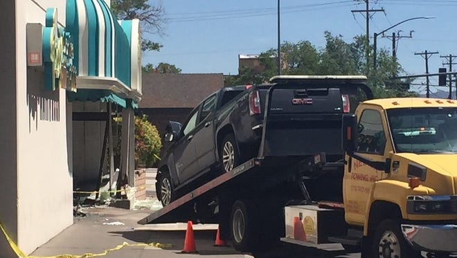 A truck crashed into the front of Peg's Glorified Ham & Eggs restaurant Tuesday on Sierra Street.