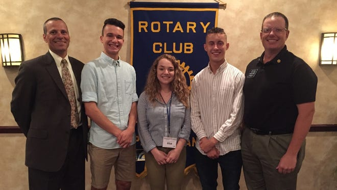 CASHS students Anthony Gavazzi, Peyton Finkle and Tristan Talhelm, shown with RYLA Chairperson Ed Franchi and Mike Hicks, entertained the club with stories of their four-day RYLA camp experiences. A member of the Mercersburg Rotary Club, Hicks serves RYLA as both a camp counselor and  Shelter Box instructor.