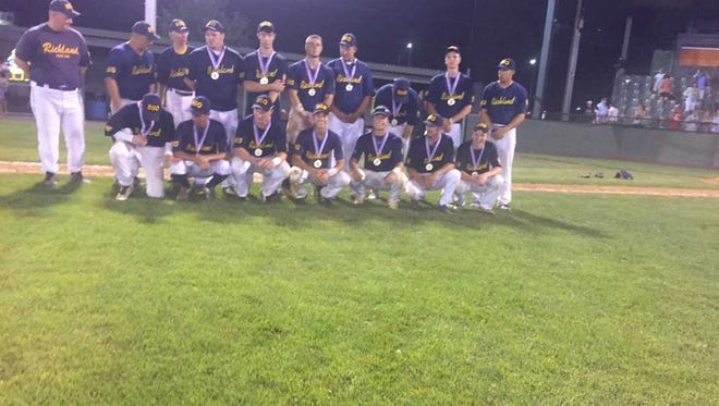 The Richland Legion baseball team poses with its medals after winning its first Lebanon County championship since 2007 on Sunday night.
